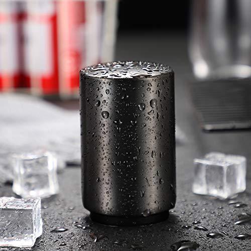 Baomasir Automatische flesopener/flessenopener, voor het openen van kroonkurkflessen, geborsteld aluminium, Push & Pull zwart