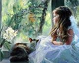 golden maple DIY Malen Nach Zahlen-Vorgedruckt Leinwand-Ölgemälde Geschenk für Erwachsene Kinder Kits Home Haus Dekor - Kleines Mädchen und Ihr Kätzchen 40*50 cm