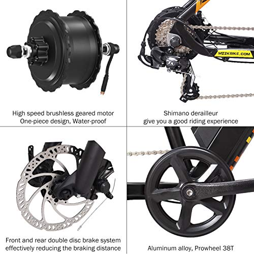 MZZK Electric Bike 7-Speed Powerful E-Bike with 48V Lithium Battery & Multi-Function Display (26' Mountain Bike-Black)