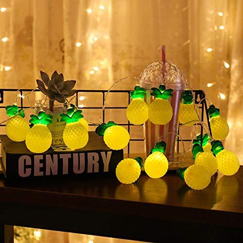 Decoración navideña, lámpara LED para decoración de habitación de los niños, cactus, árbol de coco, piña, cadena de luz nocturna, 5 metros, batería de 20 lámparas