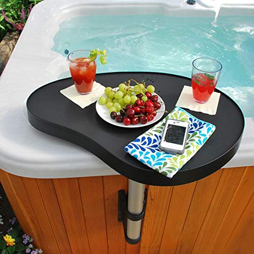 REGMICS Spa Caddy Side Table Tray, 360° Rotation Design Spa Tray Table Keep Snacks and Drinks Handy and Dry