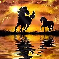大人のためのパズル2000ピース湖の上の2頭の馬子供用大型ジグソーパズルおもちゃギフト75 * 105cm