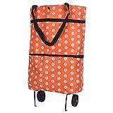 PARSPAR Folding Foldable Shopping Cart Luggage Travel Bag Trolley On Wheels, Shopping Trolleys Bag, Fabric Multi-Color (Pcs-1)