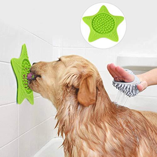 Idepet 2PCS Alfombrilla para lamer para Perros con ventosas, Esterilla dispensadora de Tratamiento Lento, Alfombrilla para lamer el baño para Perros para el Entrenamiento de la ansiedad (Verde) ⭐
