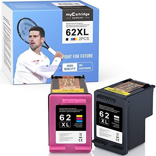 myCartridge SUPRINT 62XL 62 cartucce di inchiostro rigenerate per HP 62 62XL cartucce compatibili per HP OfficeJet 250 200 5740 5742 Envy 7640 5640 5540 5548 5646 (nero/colore)