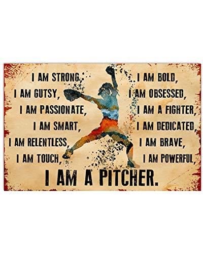 Coupletxx Store Love Softball Poster I am a Pitcher Horizontal Poster Print Perfect, Ideas On Xmas, Birthday, Home Decor,No Frame Full Size 12x18 16x24 24x36. (18' x 12' (1'=2.5cm))