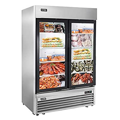 2 Glass Door Merchandiser Freezer - KITMA 49 Cu.Ft Stainless Steel Merchandiser Display Case with LED Lighting for Restaurant, 0°F - 8°F