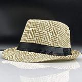 kyprx Chapeau Militaire Chapeau Plat Chapeau de Paille Chapeaux de Soleil pour Hommes Chapeau de Gangster Chapeau de Plage Chapeau Voyage Soleil