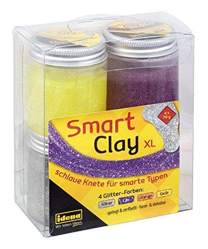 Idena 40277 - Smart Clay, schlaue Knete mit spannenden Eigenschaften in luftdichten Bechern, 4er Set mit je ca. 70 g in glitzernden Farben, gelb, orange, lila und silber