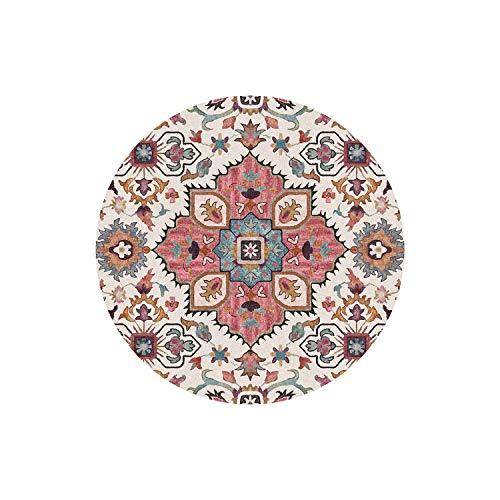 Flächenteppich Geometrisch  Ethnischer geometrischer weicher runder Teppich für Wohnzimmer Blumenblume Bodentür Stuhl Baby Spielmatte Pad Salon Schlafzimmer Teppiche-5-Durchmesser 200CM