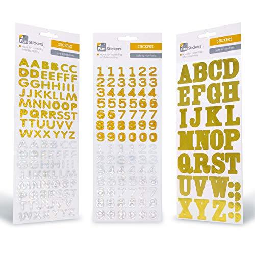 Pegatinas niños adultos - 3 láminas pegatina dorada plata letras números - Para libretas reseñas actividad manual bolsa cumpleaños piñata recordatorios - Pegatinas geniales recompensa a los más peques