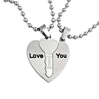 Bling Jewelry Engrave Words I Love You Couples BFF 3PC Puzzle Interlocking Heart Key Pendant Necklace for Women Silver Tone Stainless