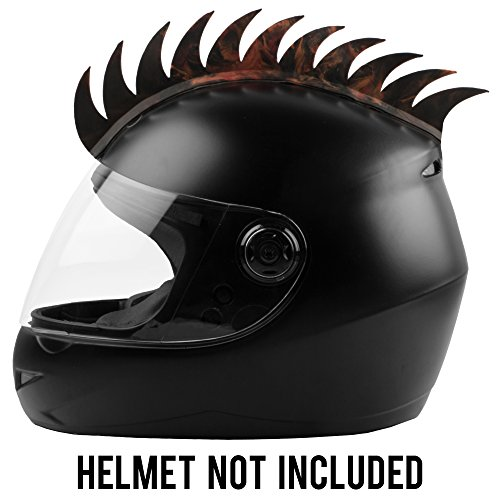 Autofy Helmet Accessory Cuttable Rubber Mohawk/Spikes with Brown & Orange Abstract for...