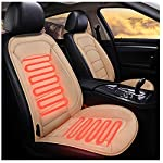 Heated Car Seat Cushion, Heated Car Seat Covers with Back Massage, 12V Universal Car Heating Pad with Auto Shut Off Truck seat Covers for Car, Truck, Bus or Boats (Beige)