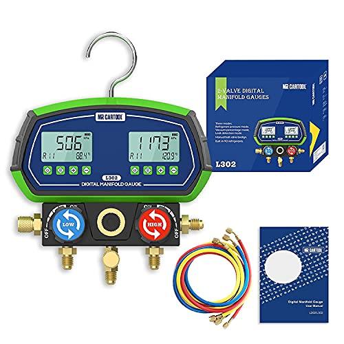 MR CARTOOL L302 Manometro Digitale Gas Refrigerante con 3 Tubi Flessibili R410a Manometri Digitali Frigoristi Vacuometro R32 90 refrigeranti per Test Manutenzione Condizionatore d'aria, Frigorifero