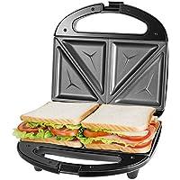 macchina per sandwich tostapane, piastre antiaderenti rimovibili, manici cool touch, 750 w, indicatori led, senza bpa, nero