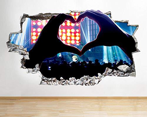 Pegatina Pared -- Concierto de banda de concierto de música de corazón -- 3D Wall Poster Vinyl Mural Pegatinas Sala de niños Decoración de viveros Dibujos Animados Papel Pintado 60X90CM