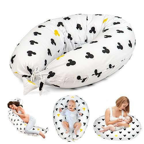 Almohada Embarazada y Cojin Lactancia - Cojín Embarazo Maternidad Dormir y Cojines Nido Bebe Grande (Ratón Amarillo Y Negro, 165 x 70 cm)
