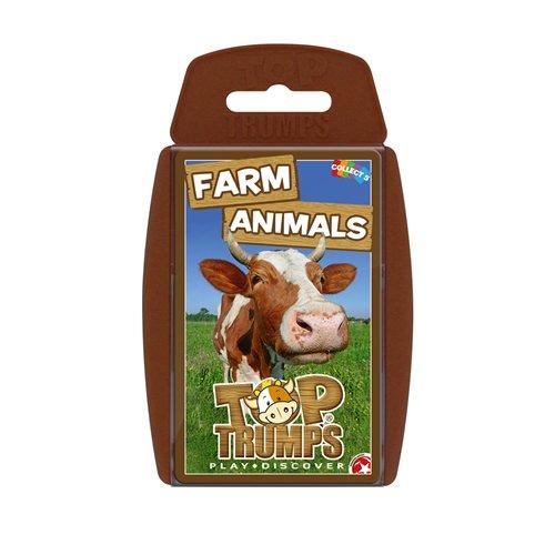 Winning Moves 14875 Top Trumps – Farm Animals/Bauernhoftiere – Quartett Kartenspiel (Englische Edition), Braun