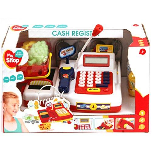 My Shop Kinder Registrierkasse Kasse mit Funktion und Zubehör für Kaufladen Supermarkt