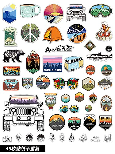 SHUYI Outdoor Travel Camping Adventure Stickers Retro Art Luggage Stickers Trend Skateboard Motorcycle Stickers Waterproof