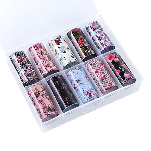 10 rollos de pegatinas de transferencia de arte de uñas, diseño de flores, accesorios de arte de uñas, hojas holográficas, suministros de arte, flores de rosa