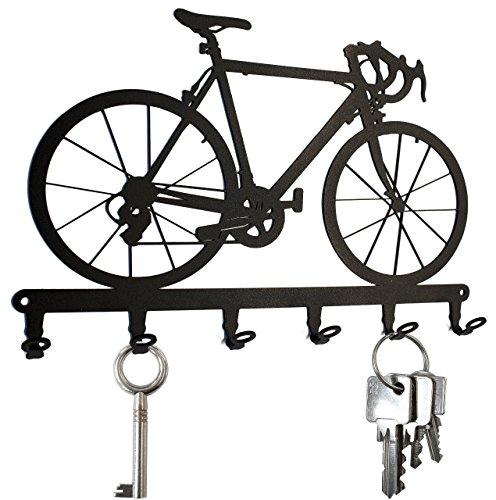 steelprint.de Schlüsselbrett/Hakenleiste * Rennrad * - Schlüsselboard Fahrrad, Schlüsselleiste, Metall - 6 Haken