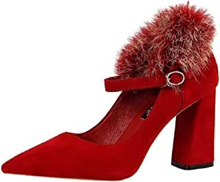 THE LONDON STORE Women's Red | Black | Brown Velvet Pointed Fur Pumps