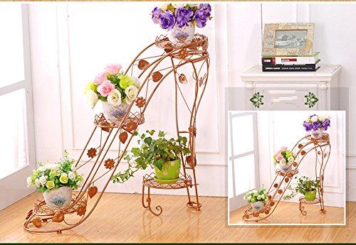 WEBO Home- Ensemble de Fleurs en Fer à Fleurs à Plusieurs étages Salon intérieur et extérieur Balcon Talons Hauts crémaillère créative -Étagère (Couleur : Earthly Gold, Taille : 95 * 25 * 80cm)