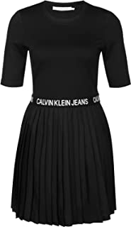 Calvin Klein Jeans Women's PLEATED DRESS Dresses, Black (Ck Black BAE), Large