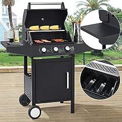 Broilcue BBQ Grill gazowy Louisiana 3 Palnik 8.1 kW | Wózek gazowy z grillem ze rusztem grillowym, pokrywką z termometrem do grillowania, gorącym uchwytem wschodnim & bocznymi półkami