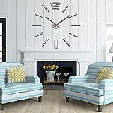 UPA VIPECHO Reloj Pared 3D Grandes Bricolaje Moderna para decoración del hogar Oficina-Plata