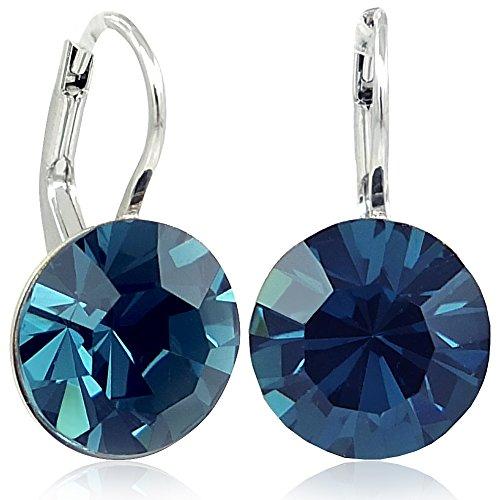 Ohrringe mit Kristallen von Swarovski® Silber Blau NOBEL SCHMUCK
