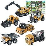 HERSITY 6 Piezas Camiones de Construcción Mini Juguetes de Coches con...