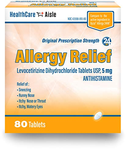 HealthCareAisle Allergy Relief Levocetirizine Dihydrochloride Tablets, USP   24 Hour Allergy Relief   5 mg   80 Count