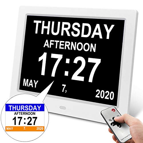 Dementia Alarm Clock Alzheimers Clock with 3 Interfaces 8 Alarm Options Day Clock Battery Backup Extra Large Digital Days Clock Ideal for Memory Loss Elderly Seniors with Remote