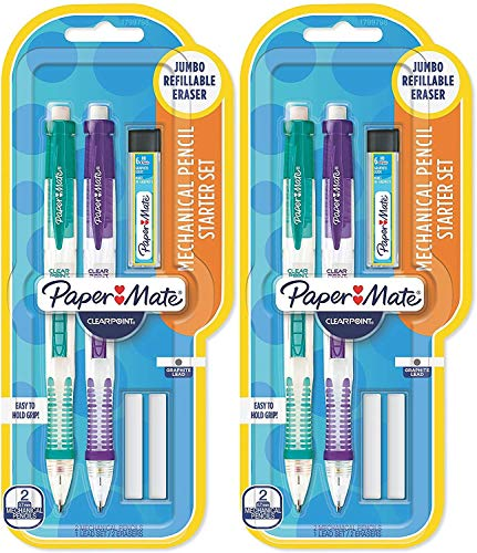 Paper Mate 56047PP Clearpoint 0.7mm Mechanical Pencil Starter Set, Assorted Colors Pack of 2