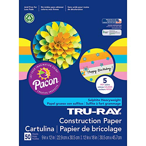 "Tru-Ray Heavyweight Construction Paper, Hot Assorted Colors, 9"" x 12"", 50 Sheets"