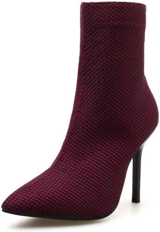 Shiney Women's Boots Autumn Winter Stiletto Pointed Zipper High Heel Martin Boots
