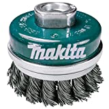 Makita 1 Piece - Banded Knotted Wire Cup Brush For Grinders - Ultra Heavy-Duty Conditioning For Metal - 2.5' x 5/8-Inch   11 UNC