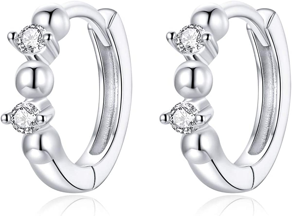 Crystal Sleeper Small Hoop Earrings S925 Boston Mall Silver Double Limited price sale Sterling