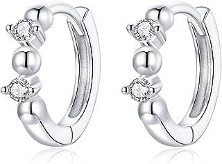Crystal Sleeper Small Hoop Earrings S925 Sterling Silver Double Diamond Cubic Zirconia Endless Round Huggie Hoops 10mm Car...
