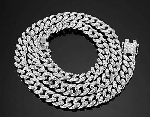 13mm Iced Out Kubanischen Halskette Kette Hip hop Schmuck Halsband Silber Strass CZ Verschluss für Herren Rapper Mode halsketten Link