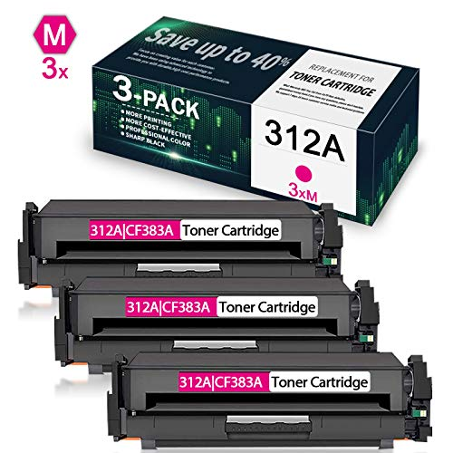 3-Pack Magenta 312A | CF383A Compatible Remanufactured Toner Cartridge Replacement for HP Color Laserjet Pro MFP M476dw M476dn M476nw Printer, Toner Cartridge.