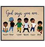 God Says You Are Wall Art - Religious Wall Decor for African American Boys - Christian Gifts - Scripture Wall Decor - God Wall Art - Black Boys Room Decor - Motivational Inspirational Bible Verses