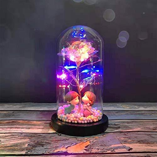 LED Galaxy Glas Rose Abdeckung Blume Micro Landschaft Dekoration Romantische Hochzeit Geschenk für Valentinstag...