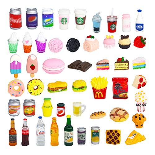 50 Pcs Miniature Food Drink Bottles Soda Pop Cans Pretend Play Kitchen Game Party Accessories Toys Hamburg Cake Ice Cream for 1/12 Doll House (25Food+25Drink)