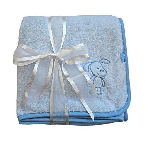 Baby Fehn Kuscheldecke Max der Hund hellblau 100 x 75 cm Lebhafte Farben und Materialien