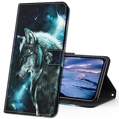 MRSTER Moto G8 Power Lite Handytasche, Leder Schutzhülle Brieftasche Hülle 3D Muster Cover mit Kartenfach Magnet Tasche Handyhüllen für Motorola Moto G8 Power Lite. YX 3D Wolf