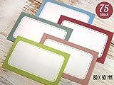 75 Etiketten Aufkleber retro 80 x 50 mm zum Beschriften, für Schule, Büro, Haushalt